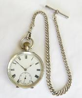 Antique Silver Pocket Watch & Chain (2 of 6)