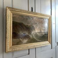 Antique Marine Coastal Seascape Oil Painting Entitled On the Yorkshire Coast by Tom Owen (6 of 10)