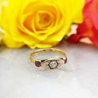 Antique Victorian 22ct 9ct Gold Old Mine Cut Diamond & Ruby Trilogy Ring | Three Stone Ring (3 of 10)