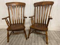 Pair of Edwardian Farmhouse Fireside Chairs (2 of 4)