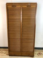 Vintage French Mid Century Double Filing Cabinet Tambour Roller Shutter by G Moreux