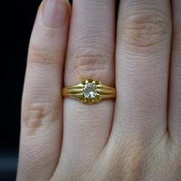Antique Old Cut Diamond Solitaire Belcher 18ct Gold Ring (5 of 10)