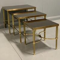 Nest of 3 Brass & Dark Glass Tables (4 of 6)