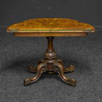 Victorian Burr Walnut Card Table with Green Baize (4 of 12)