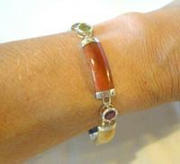 """Vintage Silver & Jade Bracelet 1970s Multi Colour Jade & Gem Panels 7 3/4"""" Length (11 of 12)"""