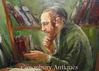 Oil Painting Jew and Rabbi Portrait Antique Yiddish Judaic Art 1930 (6 of 9)