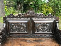 Antique English Carved Oak Hall Bench Settle (3 of 10)