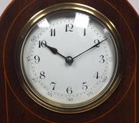 Impressive Solid Mahogany Arched Top Cased Timepiece Clock with Satinwood Inlaid Decoration (4 of 10)