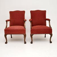 Pair of Antique Mahogany Chippendale Style Armchairs (12 of 12)