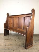 Antique Victorian Pitch Pine Curved Back Pew or Settle (14 of 16)