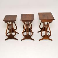 Antique Regency Style Yew Wood Nest of Tables (3 of 8)
