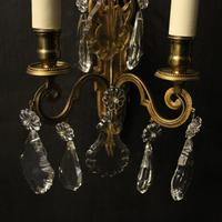 French Pair of Gilded Brass Wall Lights (7 of 10)
