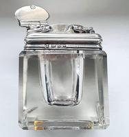 Antique Georgian 1829 Solid Sterling Silver & Glass Travelling Inkwell Ink Pot - 19th Century (4 of 10)