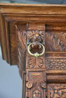 Carved Oak Leaded Glass Bookcase Cabinet (4 of 8)
