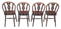 Set of 4 Elm & Beech Kitchen Dining Chairs c.1900 (2 of 7)