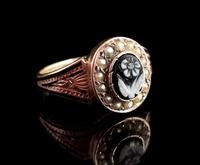 Antique Victorian Mourning Ring, 15ct Gold, Black Enamel & Seed Pearl, Agate Forget me Not (10 of 13)
