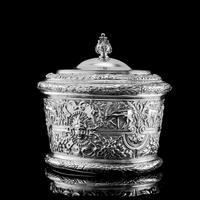 Rare Antique Solid Silver Cellini Tea Caddy Box - Mappin & Webb 1902 (3 of 28)