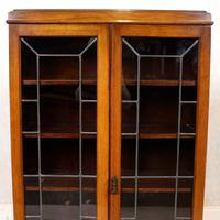 Oak Leaded Glass Bookcase (3 of 15)