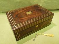 Inlaid Unisex Rosewood Jewellery Box + Tray. c1835 (8 of 12)