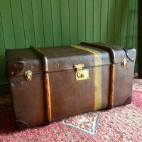 Steamer Trunk 1930s Art Deco Bentwood Travel Chest Coffee Table Storage (3 of 10)