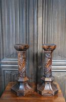 Pair of Oak Gothic Candlesticks / Lamps (2 of 6)