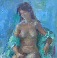 Original Vintage Antique Impressionist Erotica Nude Oil Portrait Painting (4 of 11)