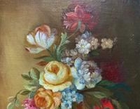 Superb Original Early 20th Century Continental Miniature Floral Still Life Oil Painting (7 of 11)