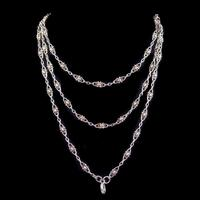 Antique Victorian French Guard Chain Necklace Silver Circa 1900 (2 of 7)