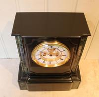 Mid 19th Century Polished Slate Visible Escapement Mantel Clock (9 of 16)