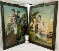 Pair of Chinese Reverse Glass Painting c.1920 (7 of 9)