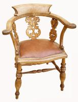 Lovely Victorian Captains Desk Chair in Beech (2 of 5)
