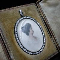 Antique Paste Portrait Miniature Silver Oval Locket Pendant in Box (8 of 9)