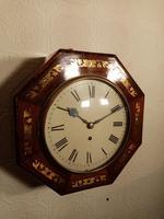 Unusual Rosewood Octagonal Fusee Wall Clock (4 of 5)