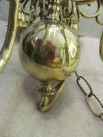A Dutch Style 6 Light Brass Ball Chandelier (4 of 6)