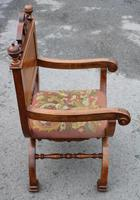 1900's Quality Walnut X Chair with Inlay & Pretty Upholstered Seat (2 of 4)