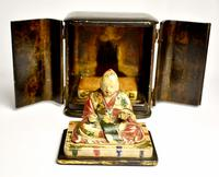 Travelers 19th Century Japanese Buddha/ deity in black lacquered case (3 of 10)