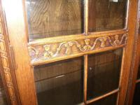 Tall Glazed Oak Linenfold Bookcase - 021-1365 (3 of 4)