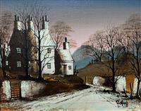 Ronald Folland Original Signed Winter Hamlet Landscape Oil Painting (2 of 12)