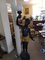Pair of Bronze Blackamoor Lamps (2 of 9)
