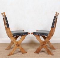 6 Oak Gothic Dining Chairs Carved (8 of 14)