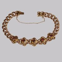 Victorian Garnet Knot & Curb Link 9ct Gold Bracelet with Antique Box c 1890 (5 of 11)