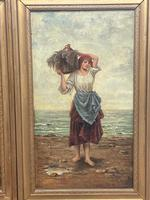 """Pair of Victorian Oil Paintings """"Cockle Pickers"""" Female Figures on Beach Shoreline (4 of 33)"""