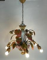 Large Florentine Ceiling Light Chandelier Toleware with Polychrome Painting (2 of 11)