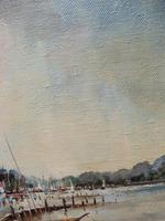 Large Oil on Canvas Dockside View Listed Artist Ira Englefield (5 of 12)