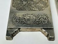 Set of 4 Antique Chinese Silver Zu Yin Hallmarked Scroll Weight Plaques Guangxu (3 of 12)