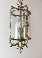 Vintage French Gilt Bronze Three Light Hall Lantern Pendant (8 of 12)