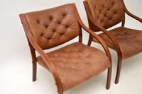 Pair of Scandinavian Bentwood & Leather Vintage Armchairs (4 of 14)