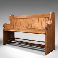 Antique Hallway Bench, English, Pine, Reception, Pew, Ecclesiastic, Victorian (3 of 12)