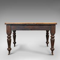 Antique Kitchen Table, English, Extending, Scrub Top, Dining, Victorian c.1870 (5 of 12)