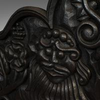 Antique Fireback, English, Cast Iron, Decorative Fireplace, Victorian c.1900 (6 of 8)